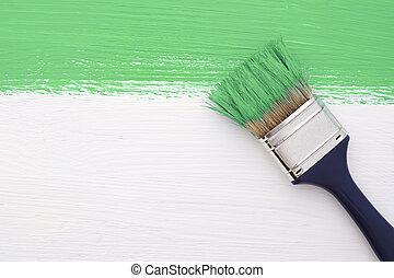 畫, 白色, 綠色的條紋, 畫筆