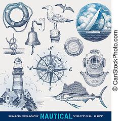 畫, 船舶, 矢量, 集合, 手