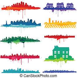 畫, 設計, splat, 城市