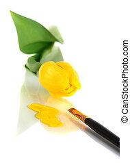 畫, 黃色, 背景。, 刷子, 郁金香, 白色