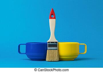 畫, 黃色, 藍色, 刷子, 背景。, 杯子