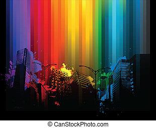 畫, splat, 背景, 城市