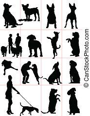 病, 狗, 集合, 矢量, silhouette.