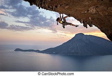 登山運動員, 傍晚, 年輕, 女性, 岩石