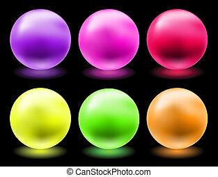 發光, 魔術, 球, 集合, 玻璃