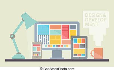 發展, 网設計, 插圖