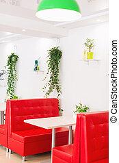 白色紅, 現代, 內部, 餐館, 設計, plants., 顏色