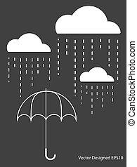 白色, 下降, 傘, 雲, 雨