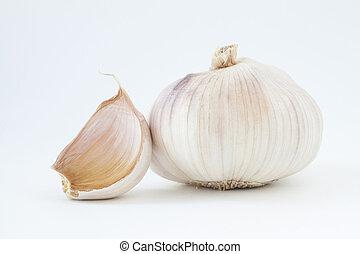 白色, 大蒜, 被隔离, 背景