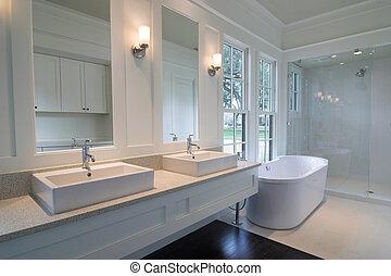 白色, 現代, 浴室