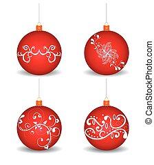白色, 球, 聖誕節, 背景