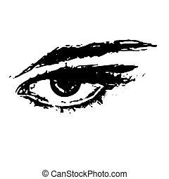 白色, 眼睛, 背景, 插圖