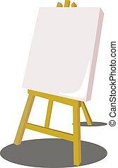 白色, 矢量, 插圖, 背景。, 畫架