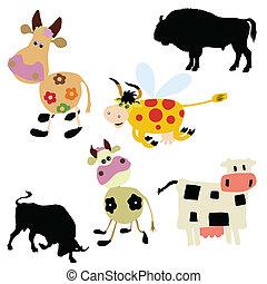 白色, 矢量, 背景, 插圖, 母牛