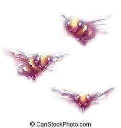 白色, 矢量, 背景, 插圖, 蜜蜂
