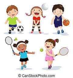白色, 矢量, 運動, 孩子, 插圖, 各種各樣, 背景