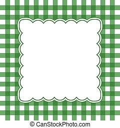 白色, 綠色, 方格花布, 框架
