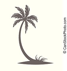 白色, 背景。, 黑色半面畫像, 棕櫚樹