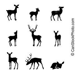 白色 背景, 黑色半面畫像, 鹿