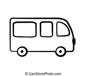 白色, 背景。, silhouette., 公共汽車