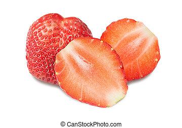 白色, 草莓, 被隔离, 背景