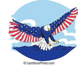白色, 藍色和紅色, 鷹, 美國人