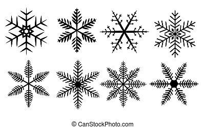 白色, 集合, 黑色半面畫像, 雪花, 背景