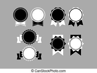 白色, 集合, 黑色, retro, labe