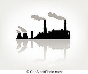 白色, 黑色半面畫像, 工廠, 背景
