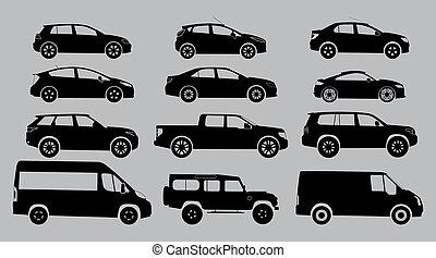 白色, 黑色半面畫像, 背景。, 汽車