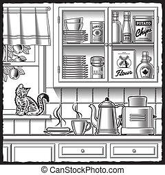 白色, 黑色, retro, 廚房