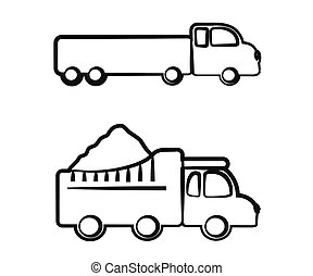 白色, silhouette., 背景。, 卡車