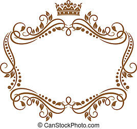皇家, 框架, 花, 王冠, retro