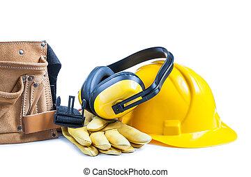 皮革, 鋼盔, 手套, toolbelt, 耳機