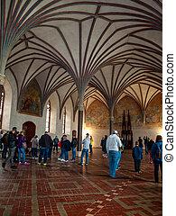 盛大, 食堂, 城堡, malbork, 大廳, 最大, 波蘭