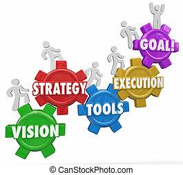 目標, 成功, 人們, 戰略, 上升, 執行, 工具, 視覺
