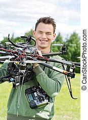 直升飛机, 工程師, 年輕, 藏品, uav