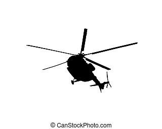 直升飛机, 白色, 黑色半面畫像, 背景