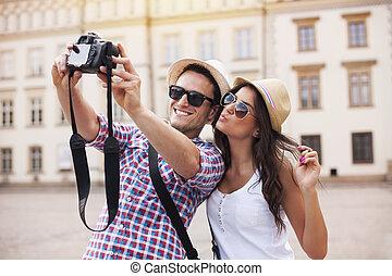 相片, 拿, 愉快, 他們自己, 旅游者