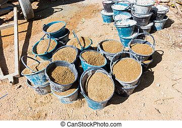相片, 桶, 沙子, 水泥, 準備, 混凝土, 站點, 建設, 很多, 混合, 水平, 或者