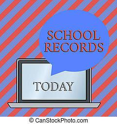 相片, 膝上型, 形狀, 浮動, 傳記, 資訊, records., 寫, 演說, 概念性, 氣泡, 在上方, 背景。, 事務, 顯示, 大約, 手, 孩子, 學校, kept, showcasing, 輪