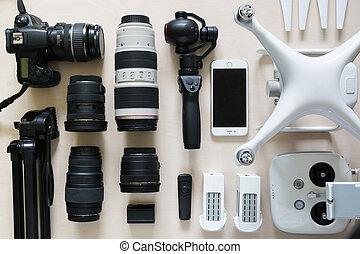相片, 頂部, 彙整, 透鏡, 設備, 雄峰, 照像機, 攝像放像机, 看法