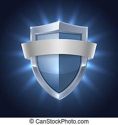 盾, 發光, 安全, 空白, 徽章, 帶子