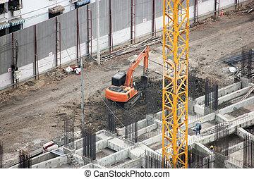 看法, 站點。, 建設, backhoe, 頂部, 工作