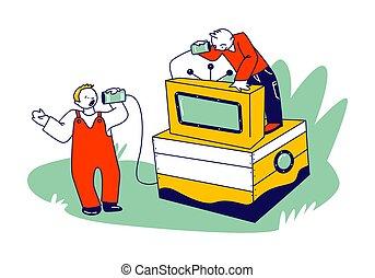 看, 插圖, 連線, set., 電視, 電話, retro, 做, past., 聾, 葡萄酒, 或者, 字符, 講話, 技術, 矢量, 繩子, 孩子, 錫, 線性, 電話通訊, 罐子, 人們, 罐頭