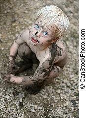 看, 照像機, 骯髒, 孩子, 嬰孩, 可愛