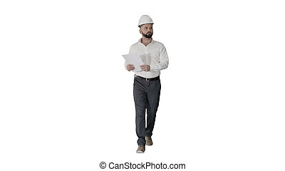 看, 男性, 工程師, 承包商, 頭盔, 步行, 站點