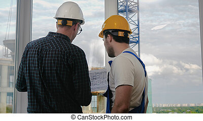 看, blueprint., 工程師, 工人