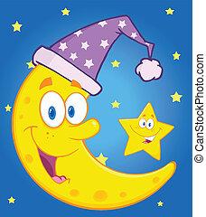 睡覺, 帽子, 星, 月亮