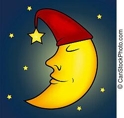 睡覺, 插圖, 月亮
